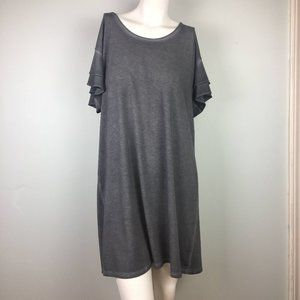 Arizona Jeans Co Ruffle Sleeve T Shirt Shift Dress